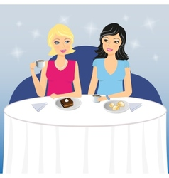 Two girls drink coffee with dessert vector