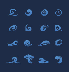 Blue water waves icons set vector