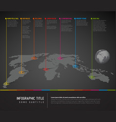 Infographic dark world map with pointer marks vector