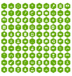 100 north america icons hexagon green vector