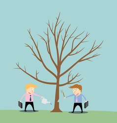 Businessman cutting tree of competitor vector