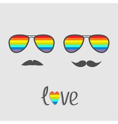 Two glasses with rainbow lenses and mustaches vector