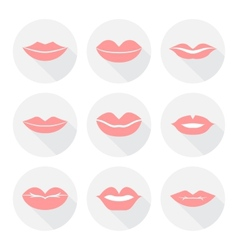 Set of mouth smile red sexy woman lips in flat vector