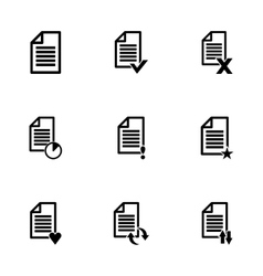 Black document icon set vector