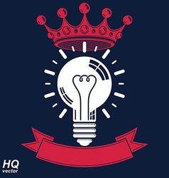 Electricity light bulb symbol with crown insight vector image