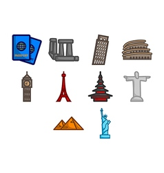 World travel icon set vector