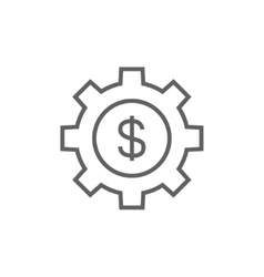 Gear with dollar sign line icon vector image