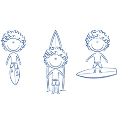 Collection of cute surfer boys vector