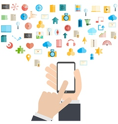 Smart phone and cloud technology with social vector