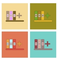 Assembly flat icons shelf folder vector