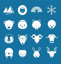 Arctic animals flat icons mono color set vector