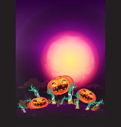 at night halloween pumpkin and zombies hands vector image vector image
