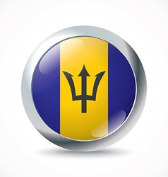 Barbados flag button vector image vector image