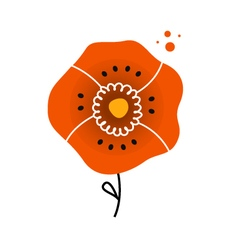 Beautiful red poppy in folk style vector