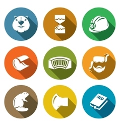 Beaver Icons Set vector image
