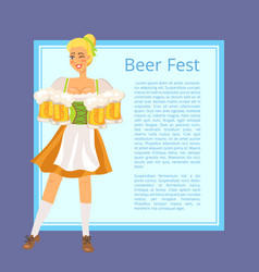Beer fest poster depicting blonde woman with mugs vector
