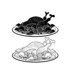 Black turkey meat dish outline and silhouette vector