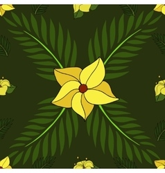 Cartoon seamless pattern with tropical plants vector image vector image