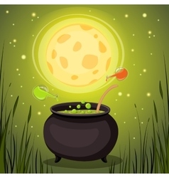 Cauldron with magical potion in a dark fores vector