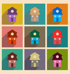 Concept of flat icons with long shadow house vector