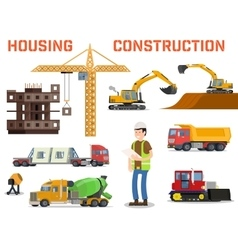 Construction machines builders and house building vector image