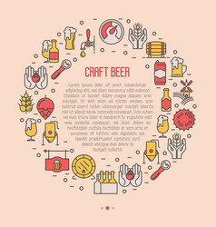 Craft beer concept in circle with thin line icons vector