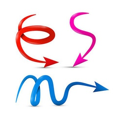 Curved red pink and blue 3d arrows isolated on vector