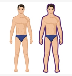 Fashion man full length outlined couple vector