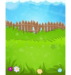 Fence on green meadow vector image vector image