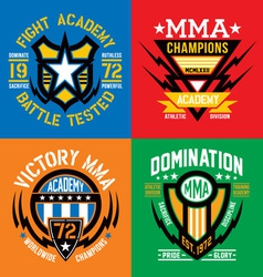 Fight academy mma emblems vector