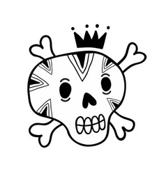 funny doodle skull with bones and crown vector image vector image