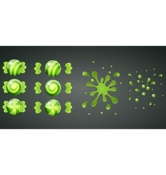 Green kiwi candy with splash animation vector