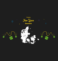 Happy new year theme with map of denmark vector