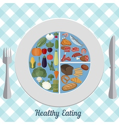 Healthy eating food plate vector