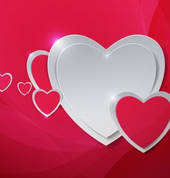 Hearts cut out from paper on abstract pink vector