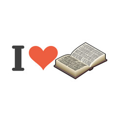I love reading heart and book emblem for lovers vector