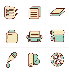 Icons Style Icons Style Print icons set elegant se vector image vector image
