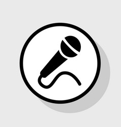 Microphone sign flat black vector