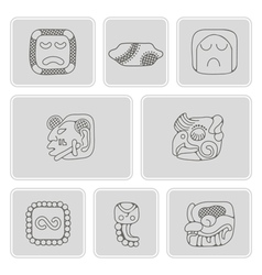 Monochrome icons with american indians relics vector