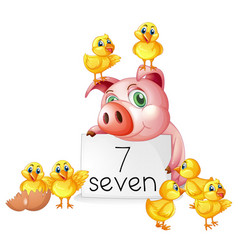 Number seven with pig and chicks vector