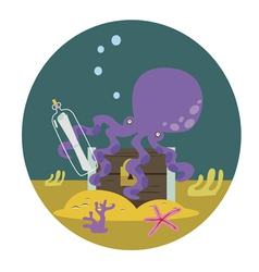 Octopus with chest with treasures vector