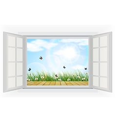 Open window with flowers and butterfly vector
