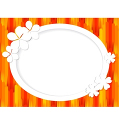 Oval frame for text with white flowers vector image vector image
