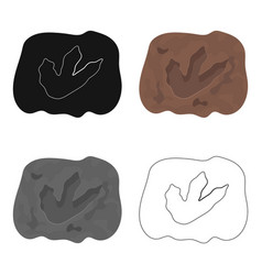 Rock with dinosaur footprint icon in cartoon style vector