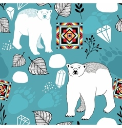 Seamless pattern with white polar bear vector