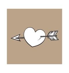 shiny cartoon heart pieced by Cupid arrow love vector image