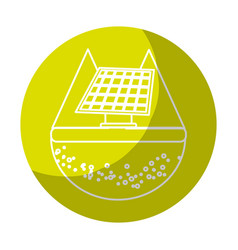 Sticker solar energy to care ecology and planet vector