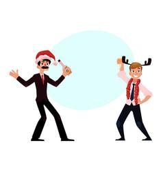 Two men businessmen having fun dancing at vector