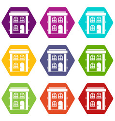 two-storey residential house icon set color vector image