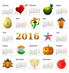 Year 2016 calendar with Holiday symbols vector image vector image